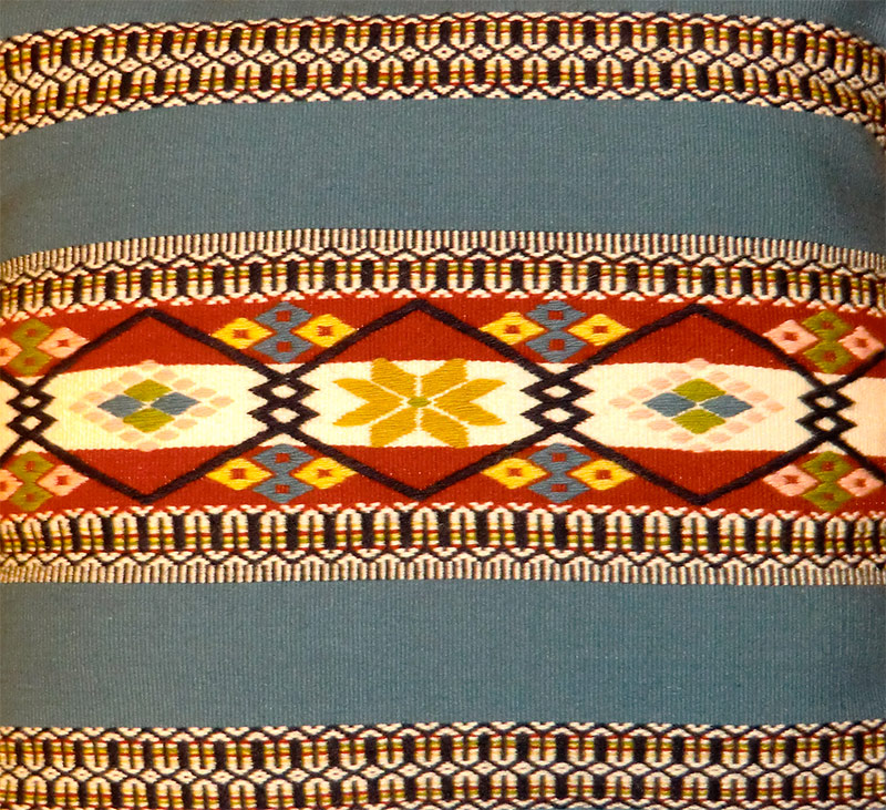 Norwegian weaving style pillow by Lois Fride