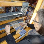 Rebecca working on a loom at our block weave workshop