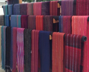 scarves displayed at 2015 Art Fair on the Square