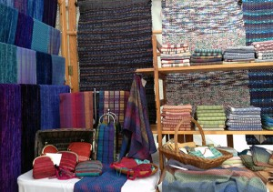 towel, rug, runner and purse display